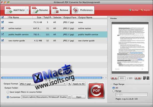 [Mac] PDF转换工具 : 4Videosoft PDF Converter for Mac