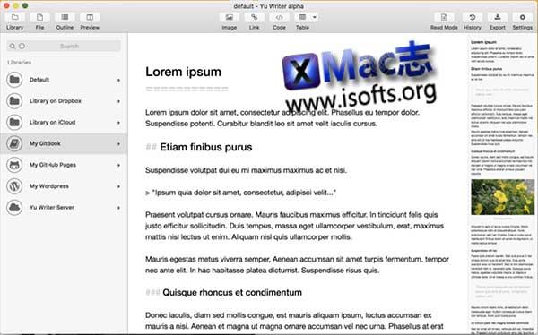 [Mac]简洁高效的写作软件 : Yu Writer