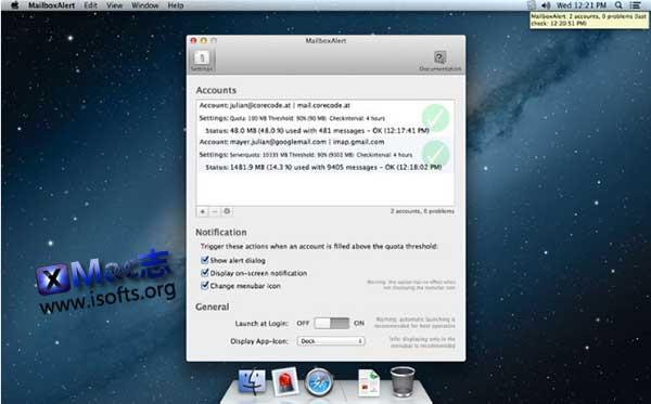 [Mac]邮件收件箱容量提醒工具 :MailboxAlert