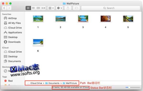 macOS在Finder中显示状态栏和路径栏