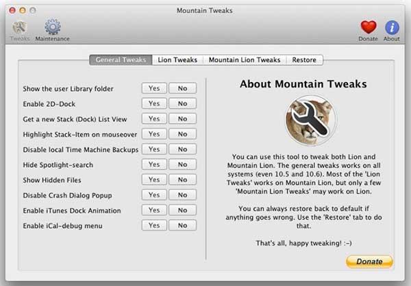 [Mac]开启Mac隐藏功能的应用 : Mountain Tweaks