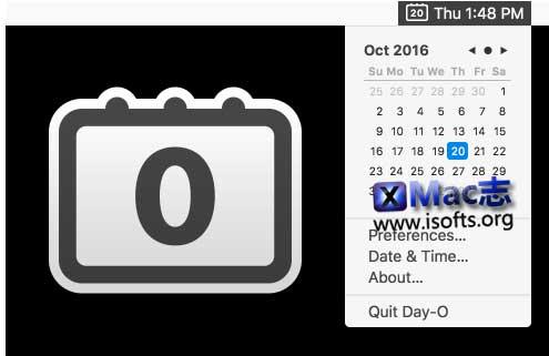 [Mac]菜单顶栏时间显示区域点击弹出日历 : Day-O