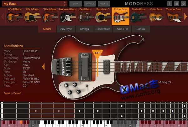 [Mac]完全自定义的物理建模虚拟贝斯 : IK Multimedia – MODO BASS
