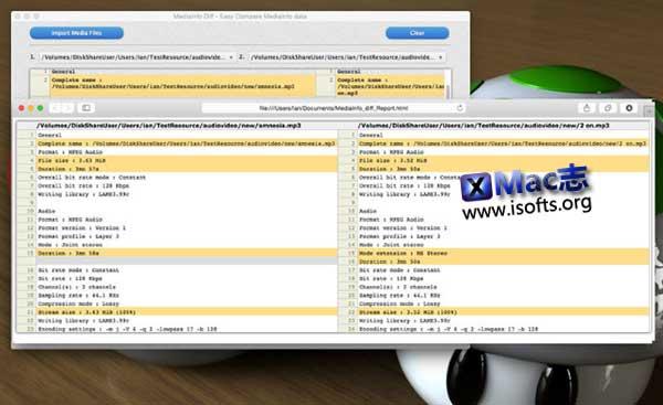 [Mac]多媒体文件信息比较工具 : MediaInfo Diff