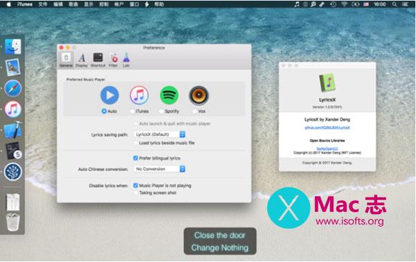 [Mac] iTunes/Spotify/Vox音乐播放歌词匹配下载显示软件 : LyricsX