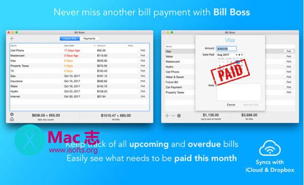 [Mac]财务管理软件 : Bill Boss