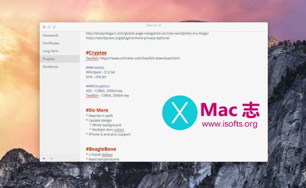 [Mac]支持加密的Markdown文档编辑器 : Cryptex