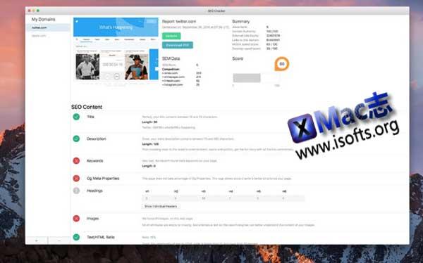 [Mac] 网站SEO诊断分析工具 : SEO Checker