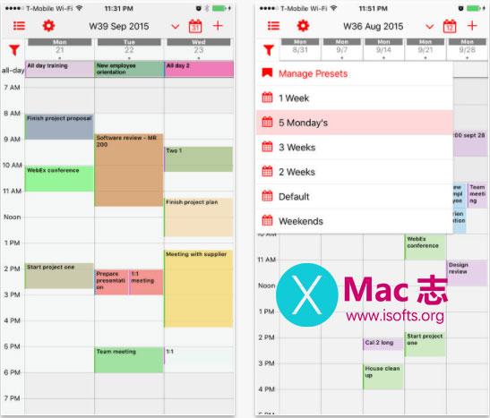 [iPhone/iPad]日历管理工具 : Week Calendar Pro