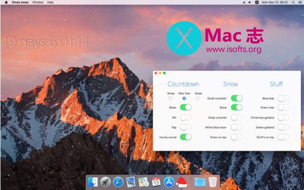 [Mac]圣诞节风格的屏幕下雪动态壁纸工具 : Xmas snow