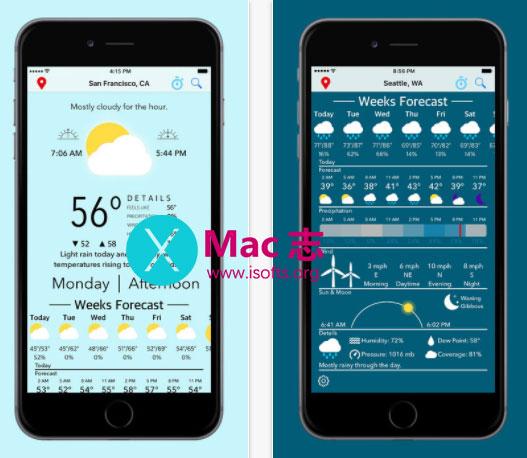 [iPhone/iPad]天气预报应用 : Blue Days