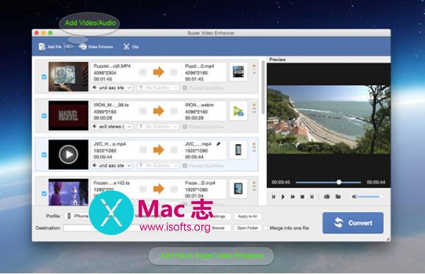 [Mac]视频格式转换及画面效果增强工具 :Super Video Editor Enhancer