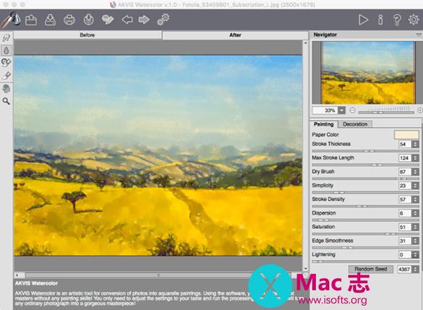 [Mac]照片转换成水彩画的图像软件 : AKVIS Watercolor
