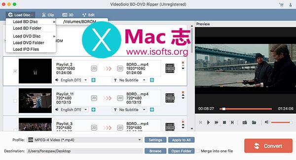 [Mac]蓝光DVD视频格式转换工具 : VideoSolo BD-DVD Ripper