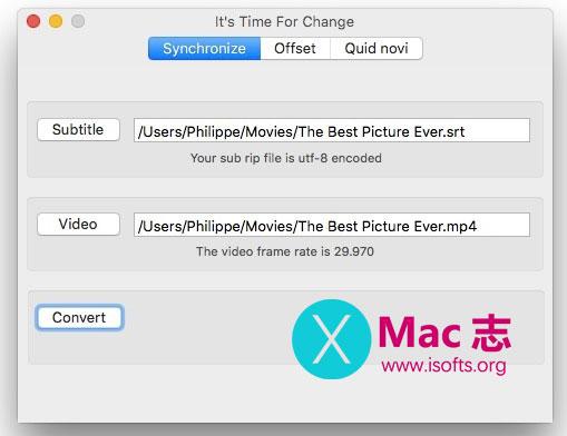 [Mac]视频和字幕时间同步工具 :Time For Change