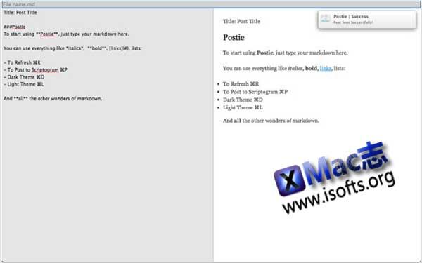 [Mac] Markdown编辑器 : Postie
