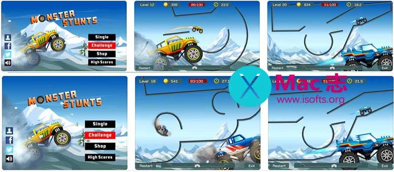 [iPhone/iPad]特技大脚车(Monster Stunts): 天空赛道之极限赛车竞速