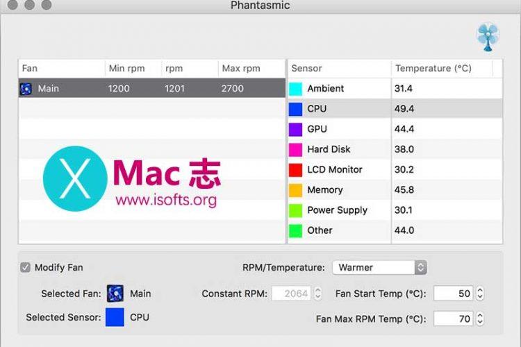 [Mac]电脑温度监测及风扇控制软件 :Phantasmic