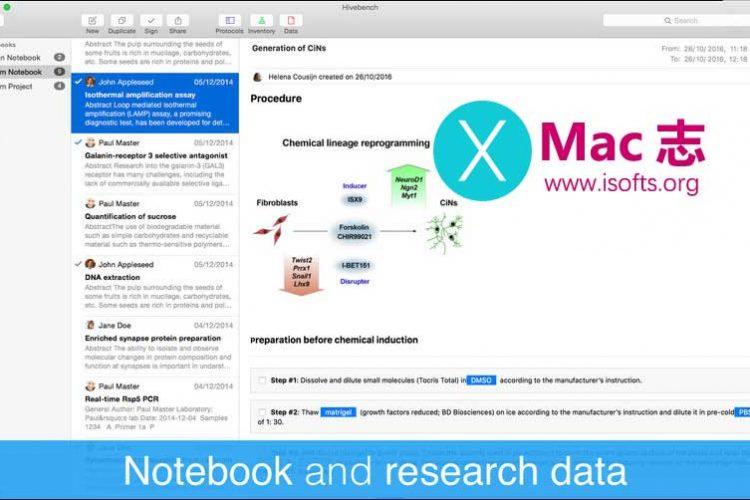 [Mac]科学实验室专用笔记软件 :Hivebench – Lab  Notebook