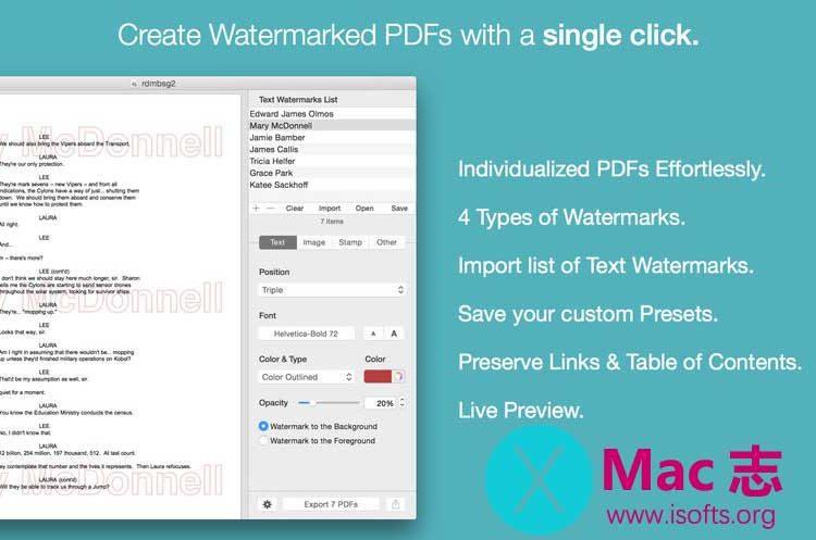 [Mac]给PDF文件添加水印的软件 :PDF Watermarker