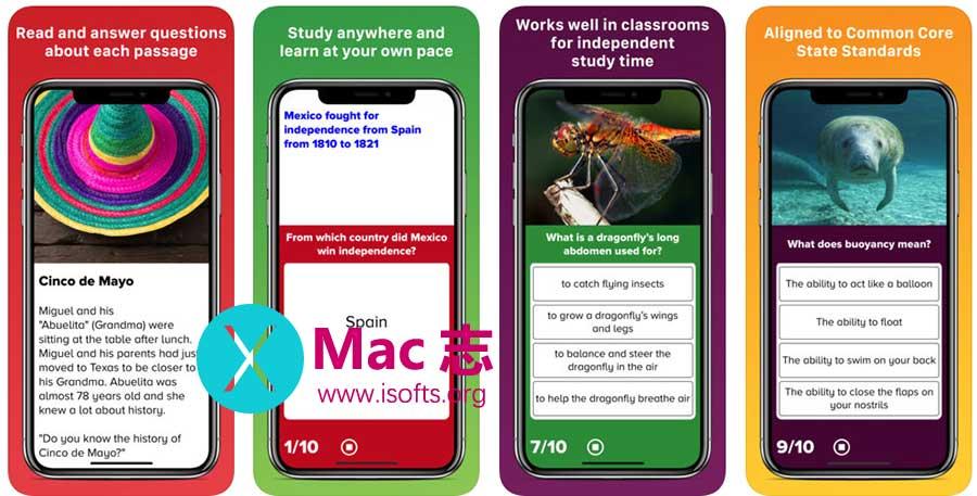 [iPhone/iPad]儿童英语阅读测验软件 :4th Grade Reading