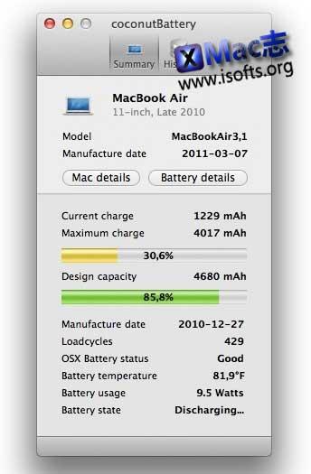 CoconutBattery for Mac:显示电池健康度