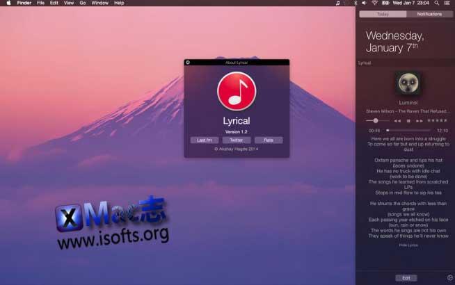 [Mac] iTunes控制以及Widget歌词显示工具 : Lyrical