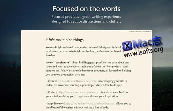 [Mac] Markdown编辑器 : Focused
