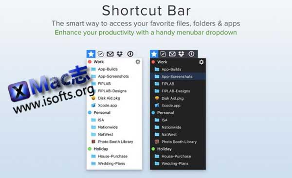 [Mac]文件和文件夹快速访问启动工具 : Shortcut Bar