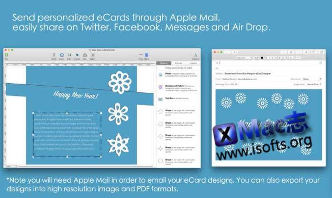 [Mac]贺卡制作工具模板 : Blue Penguin eCard Templates