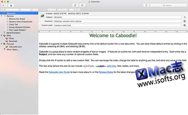 [Mac]个人信息数据管理工具 : Caboodle