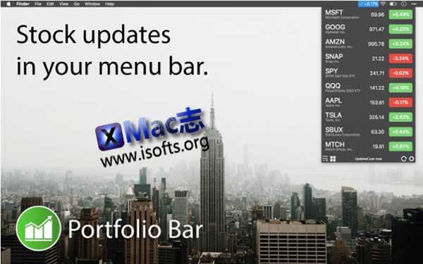 [Mac]菜单栏股票行情工具 :Portfolio Bar