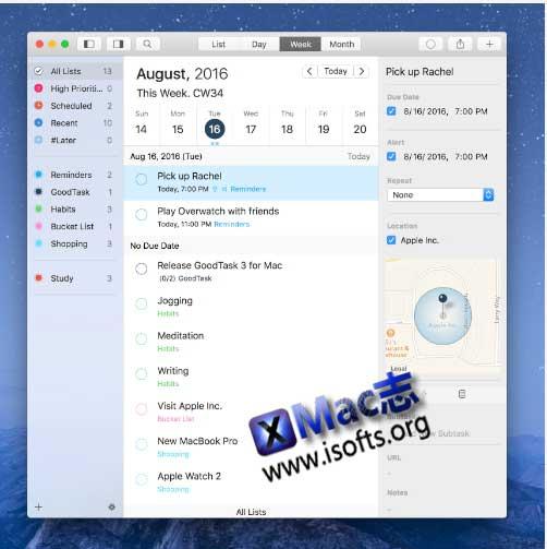 [Mac]好用的日历提醒工具 : GoodTask