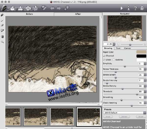 [Mac]木炭画粉笔画图像滤镜工具 : AKVIS Charcoal