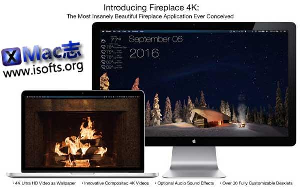 [Mac]高清视频桌面背景 : Fireplace 4K