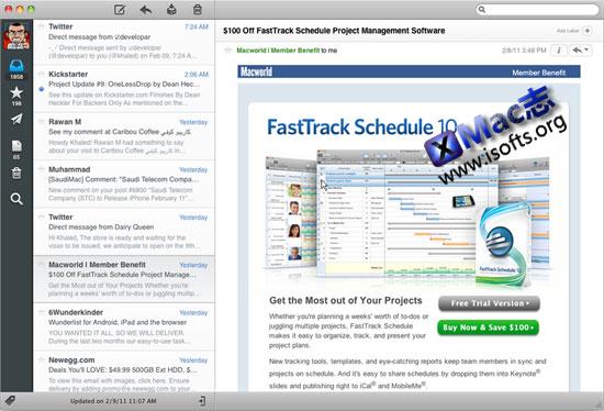 Sparrow : Mac系统的IM界面的邮件客户端