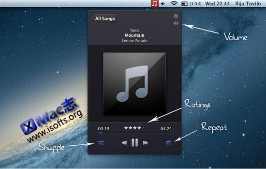 Singnificator For ITunes : 菜单栏显示ITunes +歌词