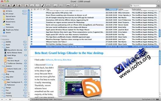 Gruml : Mac平台的本地Rss阅读器