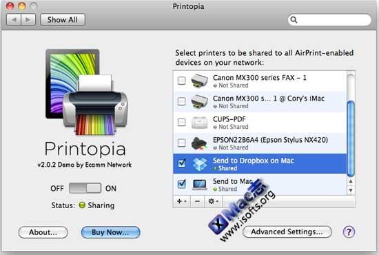 Printopia : 让苹果Mac电脑可以向iPhone/iPad/iPod touch共享打印机享受体验AirPrint无线打印