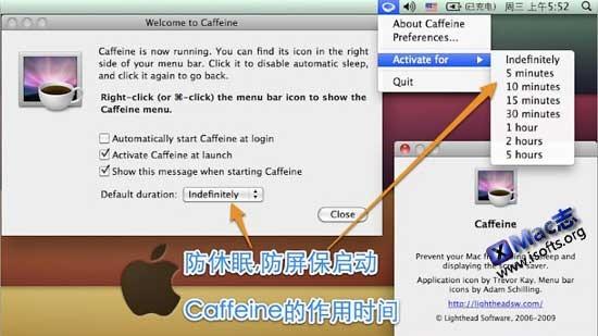 Lighthead Caffeine : 防止苹果Mac电脑自动休眠及自动屏保【免费】