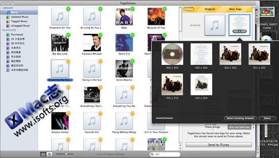 Tagalicious : Mac OS X下实现自动搜索iTunes内歌曲曲目信息与专辑封面并导入ITunes