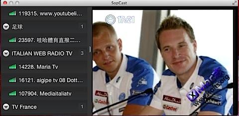 SopCast for Mac : Mac平台优秀的p2p视频直播工具