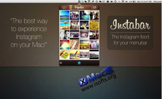 Mac平台的Instagram客户端 : Instabar Pro