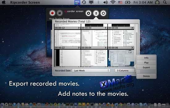 Mac平台免费的屏幕录像工具 : Ripcorder Screen