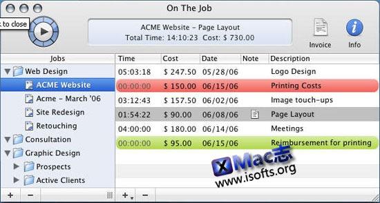 Mac平台的项目时间及消费跟踪管理工具 : On The Job