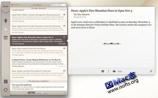 Mac平台的人性化的rss阅读器 : Cream