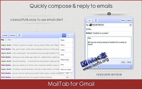 Mac平台华丽的菜单栏Gmail客户端 : MailTab Pro for Gmail