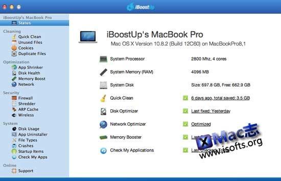 iBoostUp : Mac平台的系统优化和垃圾清理工具