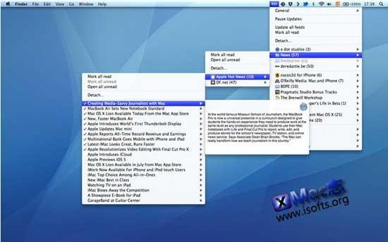 RSS Menu : Mac平台菜单栏的RSS阅读管理器