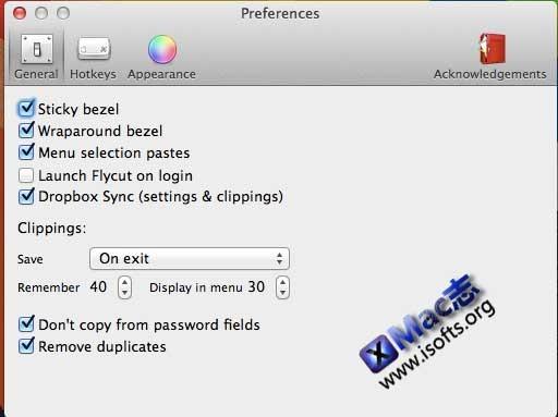 Flycut : Mac平台集合了Dropbox同步备份功能的增强型剪贴板工具【免费】